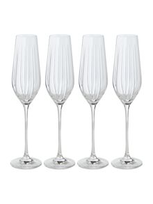 Casa Couture Beaumont hand cut crystal flutes set of 4