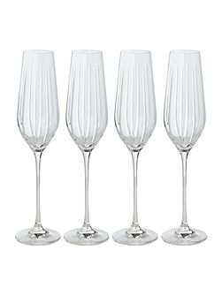 Beaumont hand cut crystal flutes set of 4