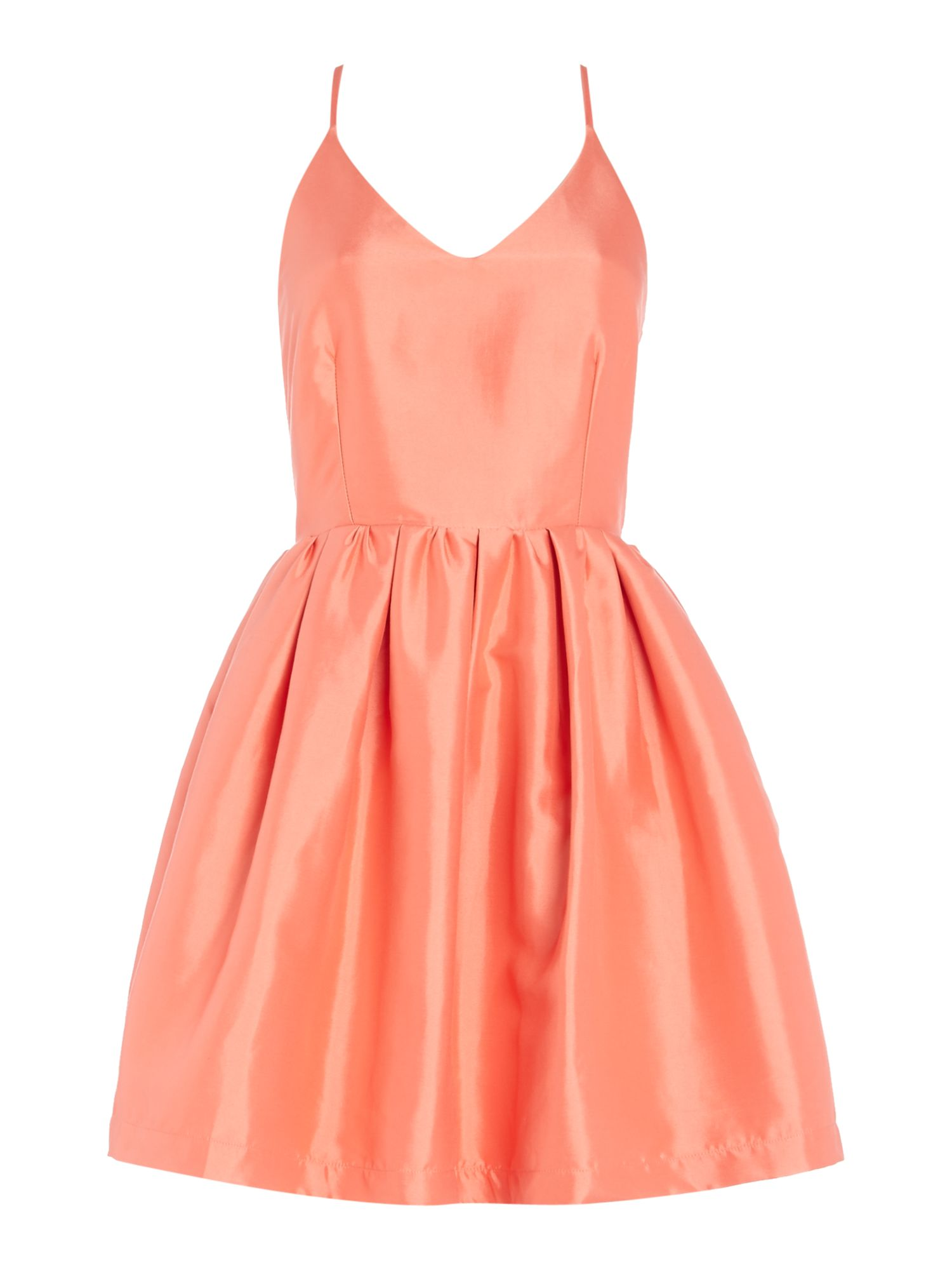 Girls on Film Girls on Film Sleeveless Fit And Flare Dress, Coral