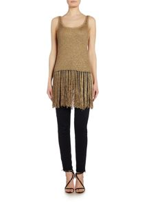 Polo Ralph Lauren Longline gold fringe top