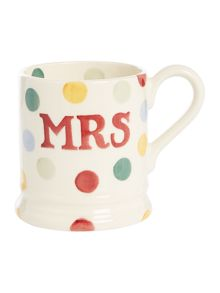 Emma Bridgewater Polka Dot Mr & Mrs Set of Two 1/2 Pint Mugs Boxed