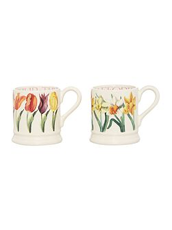 Flowers Set of Two 1/2 Pint Mugs Boxed