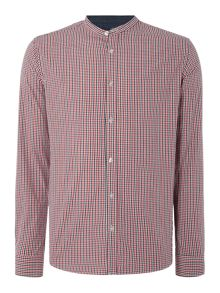 Only & Sons Gingham Mandarin Collar Long Sleeve Shirt
