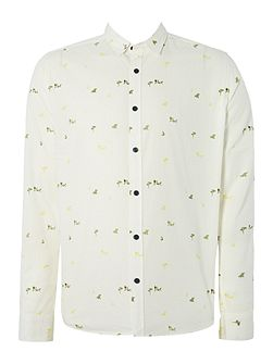 All Over Micro Print Long Sleeved Shirt
