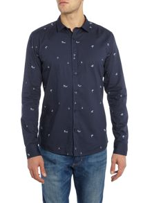 Only & Sons All Over Micro Print Long Sleeved Shirt