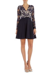 Jessica Wright Long Sleeve Lace Overlay Fit And Flare Dress