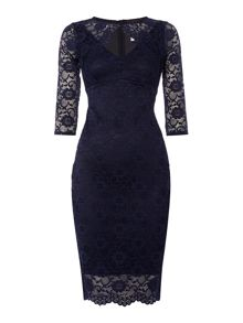 Jessica Wright Long Sleeve Cutout Lace Dress