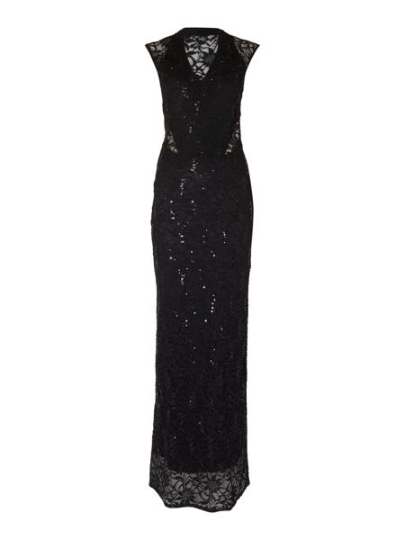 Jessica Wright Cap Sleeve V Neck Sequin Maxi Dress