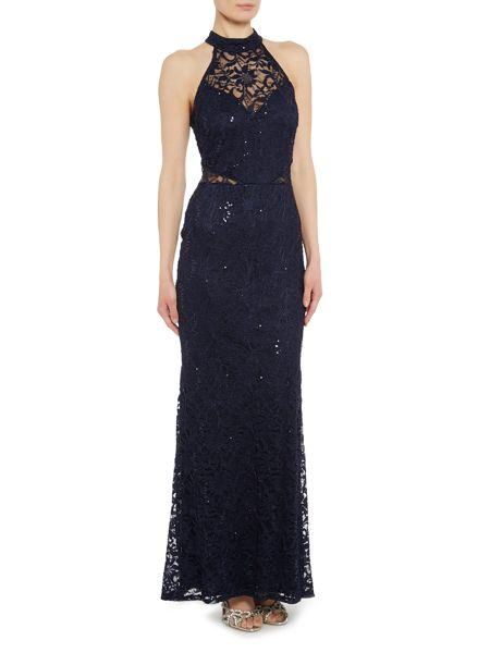 Jessica Wright Halter Neck Lace Maxi Dress