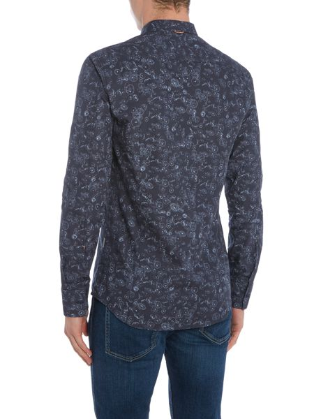 Hugo Boss Edipoe jelly fish print long sleeve shirt