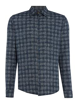 Enamee printed brush check long sleeve shirt
