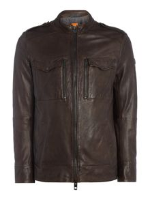 Hugo Boss Jespar zip through leather field jacket