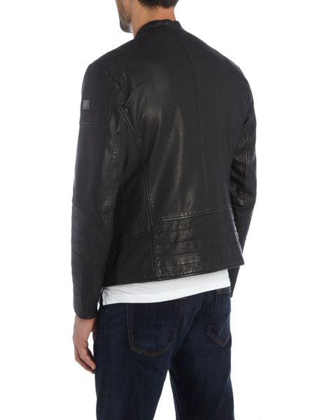Hugo Boss Jendricks zip through leather biker jacket
