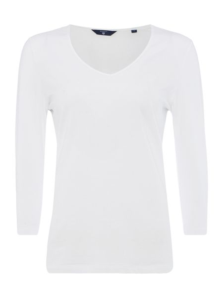 Gant V Neck 3/4 Sleeve T-Shirt
