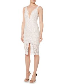 Bardot Sleeveless Deep V Lace Overlay Bodycon Dress