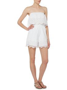 Bardot Off Shoulder Lace Hem Playsuit