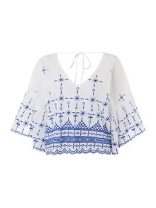Bardot Long Sleeved Tassle Top
