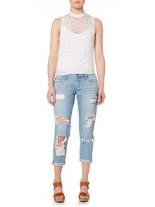 Bardot Sleeveless High Neck Lace Up Top