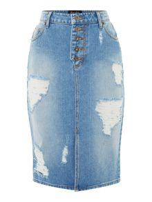 Bardot Distressed Fitted Midi Skirt