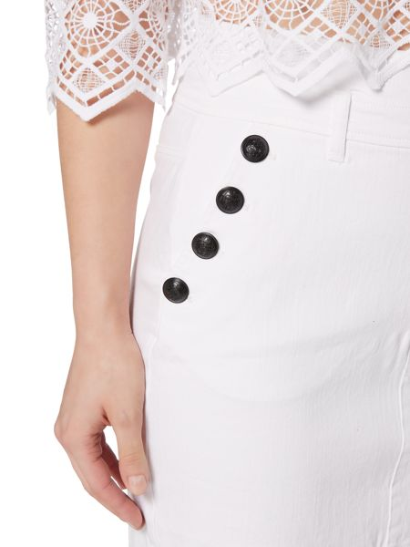 Bardot High Waisted Button Detail Skirt