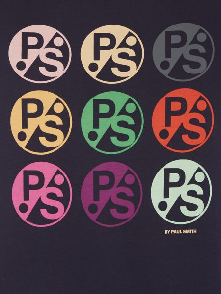 PS By Paul Smith Slim fit multi logo print crew neck t shirt
