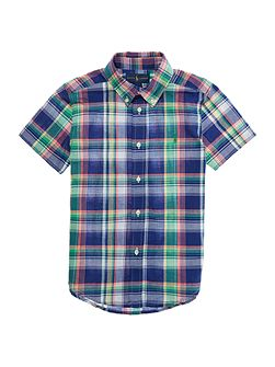 Boys Short Sleeve Madras Check Shirt