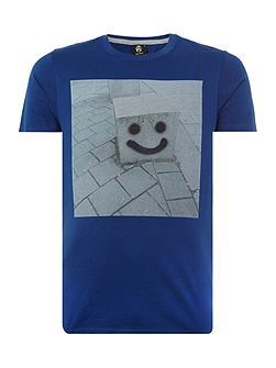 Slim fit happy pillar print crew neck t