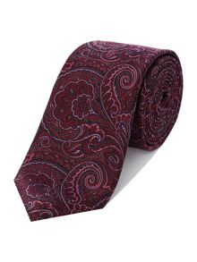 New & Lingwood Peony floral paisley jacquard tie