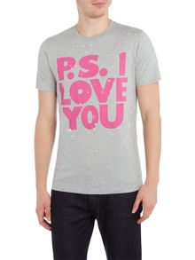 PS By Paul Smith Slim fit ps I love you print crew neck t shirt
