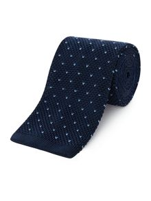 New & Lingwood Snowdrop knitted spot tie