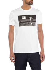 PS By Paul Smith Slim fit man on the moon print crew neck t shirt