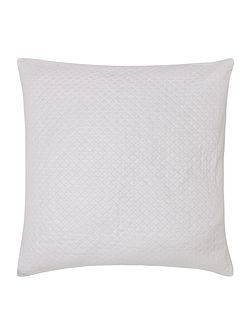 Diamond cotton sham, white