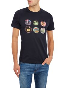 PS By Paul Smith Slim fit multi badge print crew neck t shirt