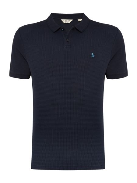 Original Penguin Waffle Front Raised-Rib Short Sleeve Polo Shirt