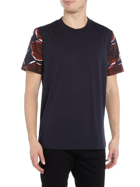 PS By Paul Smith Regular fit rose sleeve print crew neck t shirt