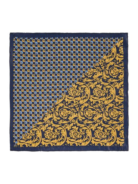 Corsivo Davide printed floral Italian silk pocket square
