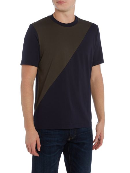 PS By Paul Smith Regular fit diagonal cut and sew t shirt