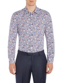New & Lingwood Hayward floral on stripe print shirt
