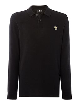 regular fit long sleeve zebra logo polo shirt