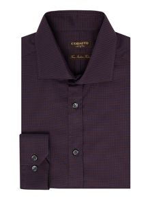 Corsivo Nunzio Dogtooth Shirt with Cutaway Collar