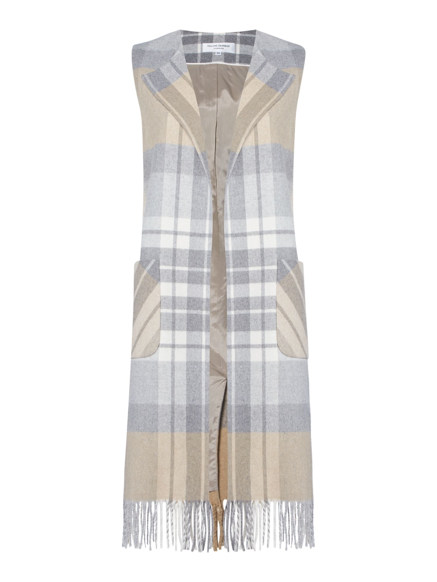 Linea Made in britain blanket check waistcoat, Multi-Coloured