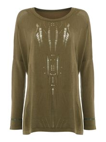 Label Lab Tribal khaki pointelle jumper