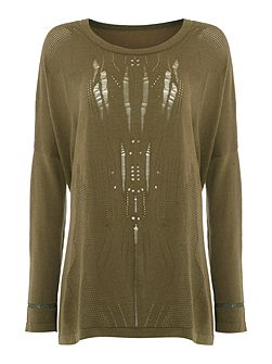 Tribal khaki pointelle jumper