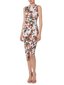 Wal-G Sleeveless Print Knot Asemetric Dress