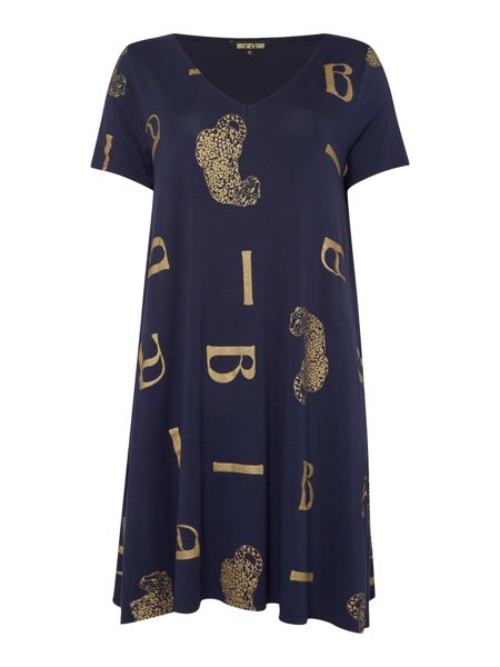 Biba Scattered leopard loose jersey tunic