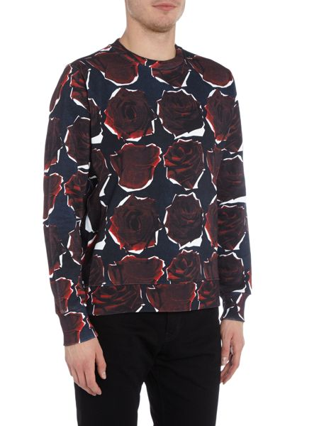 PS By Paul Smith All over rose print crew neck sweat