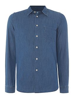 Tailored fit long sleeve chambray shirt