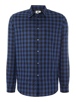 Tailored fit long sleeve gingham check shirt