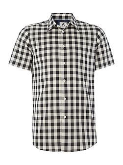 Tailored fit short sleeve gingham shirt