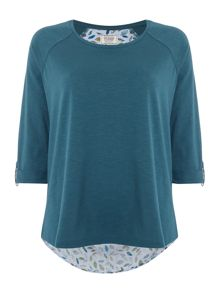 Dickins & Jones Falling Leaves Woven Back Top